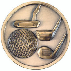 Golf Clubs Medallion - Antique Silver 2.75In