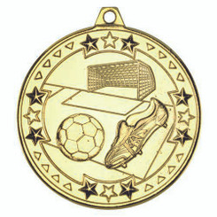 Football 'Tri Star' Medal - Gold 2In