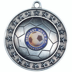 Football Medal (1In Centre) - Antique Silver 2.75In