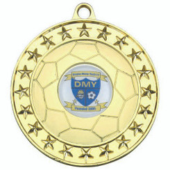 Football Medal (1In Centre) - Gold 2.75In