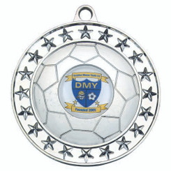 Football Medal (1In Centre) - Silver 2.75In