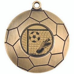 Domed Football Medal (1In Centre) - Antique Gold 2In