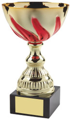 """Gold & Red Swirl Trophy Cup - TW18-051-552E - 14.5cm (5 3/4"""")"""