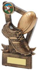 """Gold Resin Boot & Ball Rugby Trophy - TW18-064-RS599 - 15cm (6"""")"""