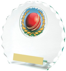 "Round Jade Glass Award for Cricket - TW18-070-382ZCP - 11cm (4 1/4"")"