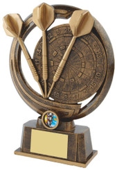 """Gold Resin Darts & Board Trophy - TW18-075-RS510 - 25.5cm (10"""")"""