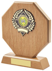 "Light Wood Octagon Sports Award - TW18-117-630BP - 16cm (6 1/4"")"