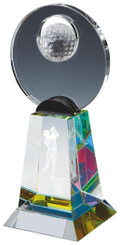 "Crystal Golf Award with 3D Image - TW18-164-T.0804 - 18.5cm (7 1/4"")"