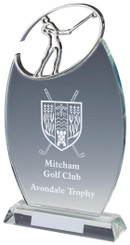 "Crystal Oval Golf Award with Metal Golf Figure - TW18-163-T.0882 - 21.5cm (8 1/2"")"