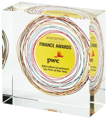 """25mm Thick Crystal Block Award for Colour Printing - TW18-188-T.0877C - 10 x 10cm (4"""" x 4"""")"""