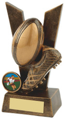 """'V' for Victory Resin Rugby Award - TW18-064-RS498 - 11cm (4 1/4"""")"""