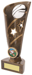 """Gold Resin Rugby Ball Award - TW18-064-RS592 - 20cm (8"""")"""