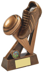 """Gold Resin Boot & Ball Rugby Award - TW18-063-RS739 - 18cm (7"""")"""