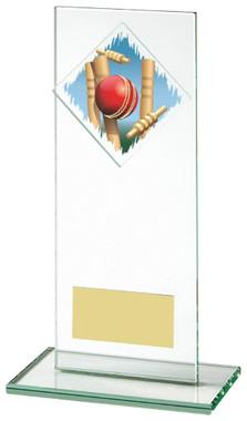 "Jade Glass Upright Cricket Award with Colour Logo - TW18-070-379ZCP - 16cm (6 1/4"")"