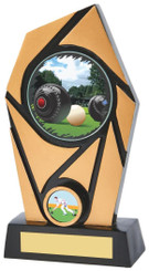 "Gold & Black Resin Lawn Bowls Award - TW18-089-826ZCP - 17cm (6 1/2"")"