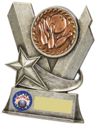 "Metal Ten Pin Bowling Stand Award - TW18-093-829CP - 10cm (4"")"