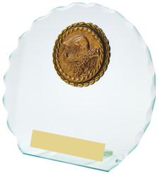 "Round Jade Glass Award - TW18-098-117CP - 11cm (4 1/4"")"