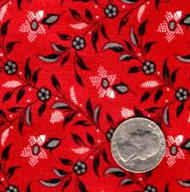 "Blue Hill Fabrics ""The Lancaster Collection"" Red Vintage Flower"