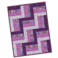 "Maywood Studios Precut ""Raspberry Cream"" Batik 12 Block Rail Fence Quilt Kit"