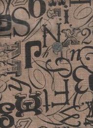 """Springs Industries """"Printed Burlap"""" Tossed Type"""