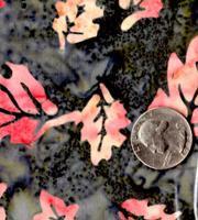 AAAQuilter's Supply Batik Charcoal/Orange Leaf 042
