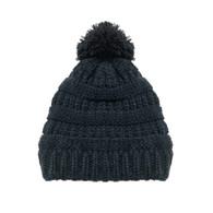 Kid's Black Pom Knit Hat