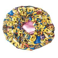 Emoji Blue Satin Bonnet