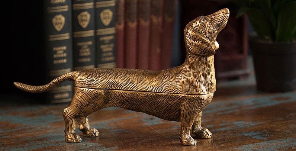 Brass Dog Storage Box