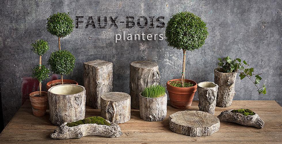 Faux-bois planters