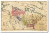 Vintage Map of Native American Tribes - Poster