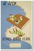 A Trip Around the World - Story Hour Club - NEW Vintage Reprint Poster