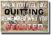 When You Feel Like Quitting Remember Why You Started - NEW Classroom Motivational PosterEnvy Sports Coaching Poster