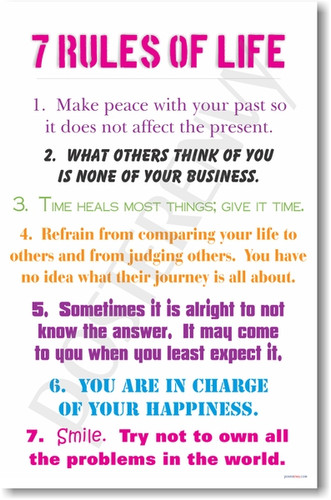 PosterEnvy - 7 Rules of Life - positive motivational classroom poster for students