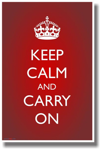 Keep Calm and Carry On (Red Gradient & Crown) Classic British UK Poster