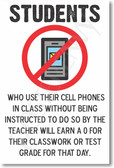 No Smart Phones in School - Students Who Use Their Cell Phones In Class - NEW Classroom PosterEnvy Poster