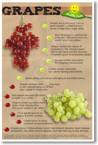 healthy foods grapes new healthy foods and nutrition poster he067