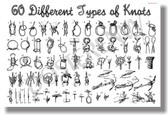 60 Different Types of Knots NEW Survival Nautical POSTER scouts (fa169)