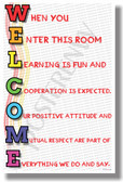 Welcome  When You Enter This Room rainbow New Classroom Motivational Poster (cm1184) posterenvy gift colorful students teachers positive cooperate learn