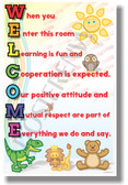 Welcome When You Enter This Room chalkboard New Classroom Motivational Poster (cm1186) learning teachers students friendly animals stuffed