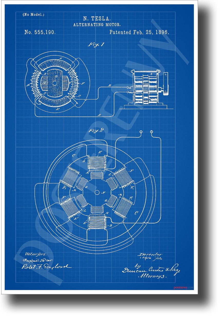 Telsa AC Motor Patent - New Blueprint Technology Poster (ms307)