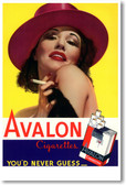 Avalon Cigarettes - You'd Never Guess - Vintage Cigarette Ad