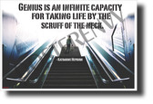 """Genius is an infinite capacity..."" - Katharine Hepburn - Quote Poster (1210) NEW Classroom Motivational Poster PosterEnvy Poster"