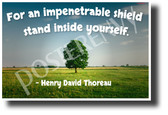 """For an Impenetrable Shield, Stand Inside Yourself"" - Henry David Thoreau - NEW Famous Person Quote Poster (cm1235) PosterEnvy Poster"