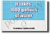 It Takes 1000 Gallons of Water to Produce 1 Gallon of Milk - NEW Health and Lifestyle POSTER