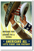 Americans All - Let's Fight For Victory - Vintage Reproduction Poster