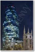30 St Mary Axe at night AKA The Gherkin or the Swiss Re building - London - NEW World Travel Poster