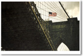 American Flag on the Brooklyn Bridge