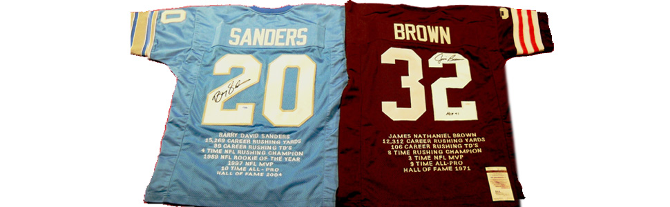 Barry Sanders Lions Jim Brown Browns stat jerseys