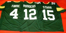 BRETT FAVRE AARON RODGERS BART STARR CUSTOM GREEN BAY PACKERS JERSEYS QBS GREATS