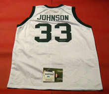 MAGIC JOHNSON AUTOGRAPHED MICHIGAN STATE SPARTANS JERSEY AASH MSU